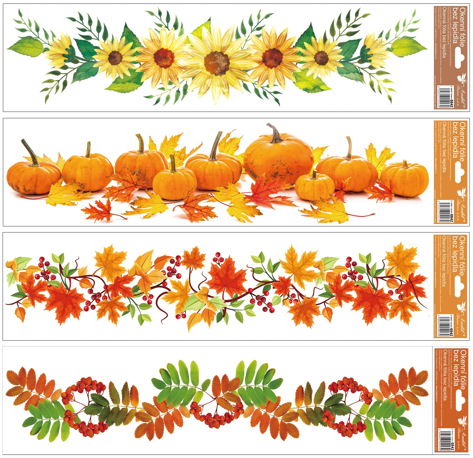 Okenní fólie Podzimní pruhy 64x15 cm, set
