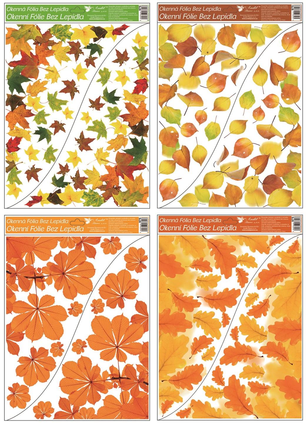 Okenní fólie rohová Podzimní listí 42 x 30 cm, set