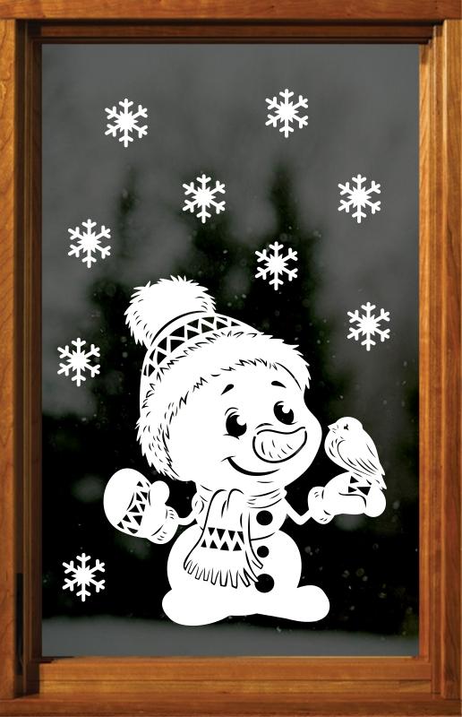 Sněhulák s ptáčkem + vločky, 35 x 30 cm