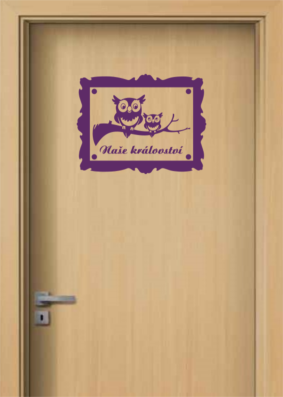 Samolepka na dveře - Cedulka se sovami a jménem