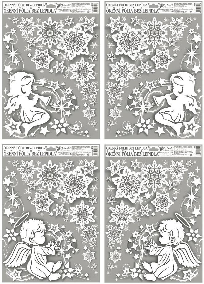 Okenní fólie rohová andílci s duhovými glitry 38x30cm SET