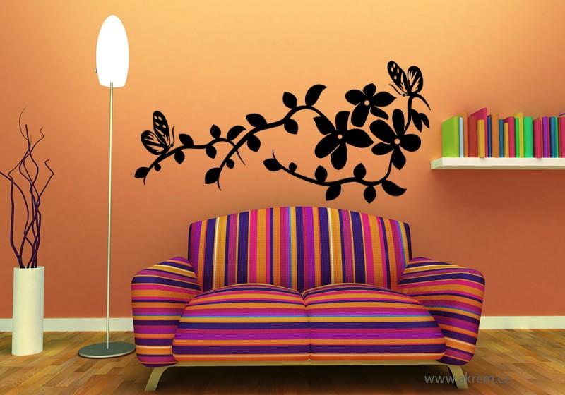 Samolepka na zeď Květy s motýlky