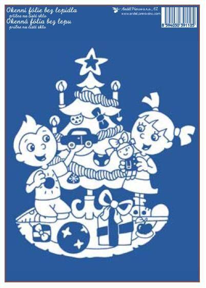 Okenní fólie Vánoční stromeček 33x23 cm