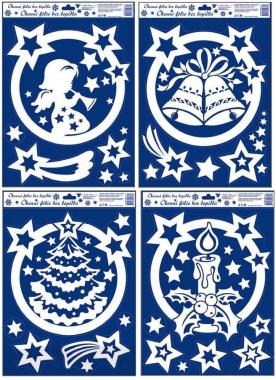 Okenní fólie Motivy v kruhu s duhovými glitry set