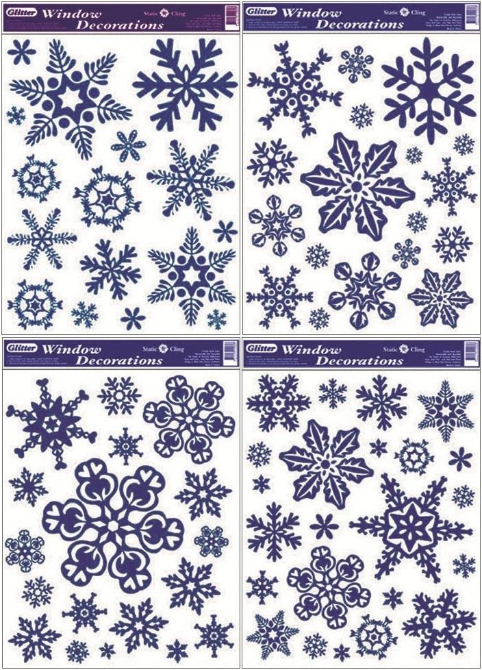 Okenní fólie Vločky s modrými glitry set