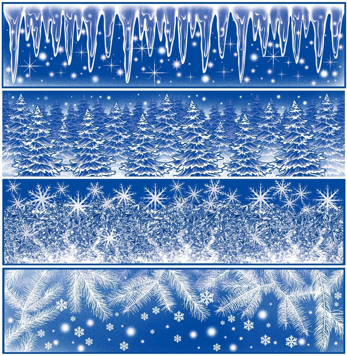 Okenní fólie pruh Ledové květy, rampouchy s duhovými glitry set