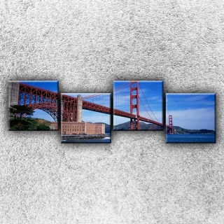 Čtyřdílný obraz Golden Gate Bridge zespodu 160 x 50 cm